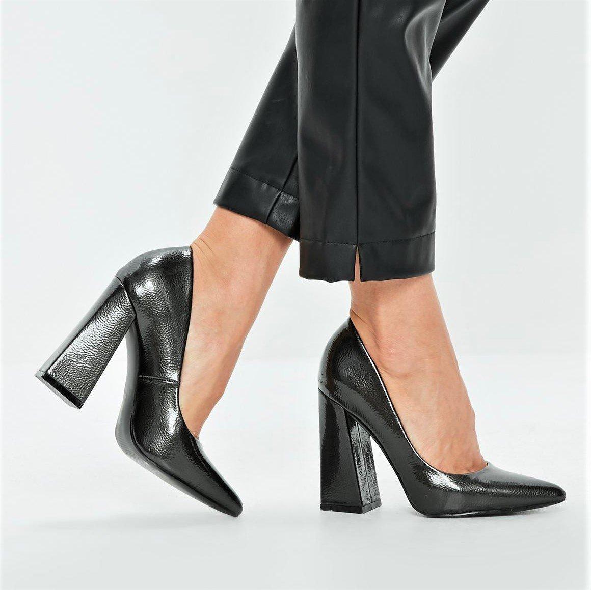 Графитени обувки с дебел ток MONRO